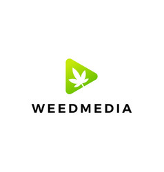cannabis leaf weed media play button logo icon vector image