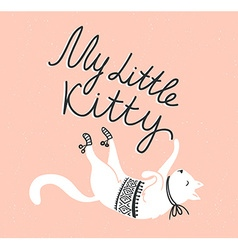 Card with cute white cat and stylish lettering my vector