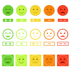 cartoon color smiley icons set feedback concept vector image