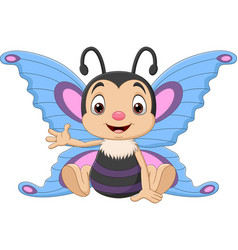 cartoon funny butterfly sitting and waving vector image