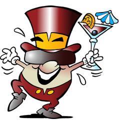 cartoon of a happy golden egg mascot celebrate it vector image