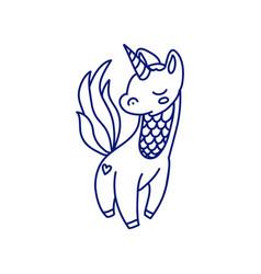 cartoon small unicorn in blue line vector image