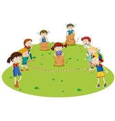Children racing in the park vector image