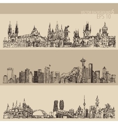City set prague toronto seattle vintage engraved vector