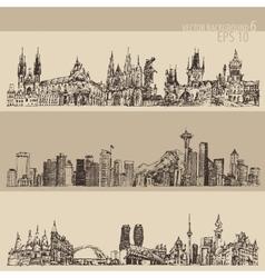 City set prague toronto seattle vntage engraved vector