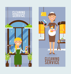 cleaning service vertical banner vector image