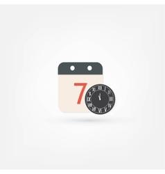 clock and calendar icon vector image