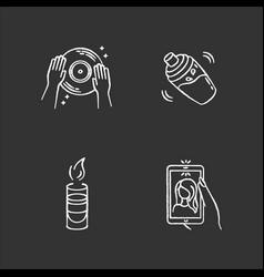 Clubbing chalk white icons set on black vector