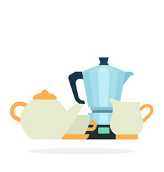 coffee service with electric maker flat vector image