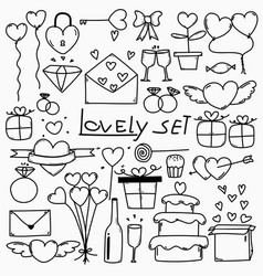 Collection of hand drawn doodle lovely set vector