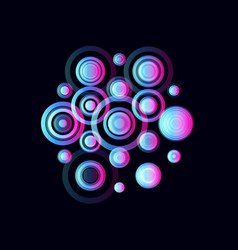 Colorful circles pulsating audio speakers vector