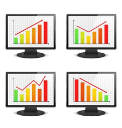 Computer monitors with graphs vector image