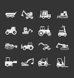 construction vehicle icon set grey vector image