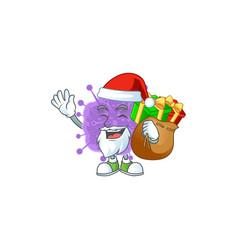 Coronavirus influenza santa with box gift vector