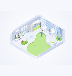 Coworking office lounge interior isometric vector
