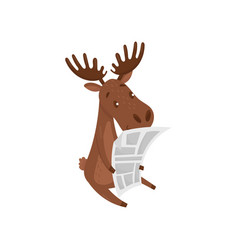 cute brown moose reading newspaper wild forest vector image