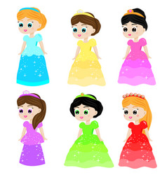 cute kawaii fairy tale princess in colorful vector image