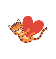 cute little tiger holding big heart adorable wild vector image