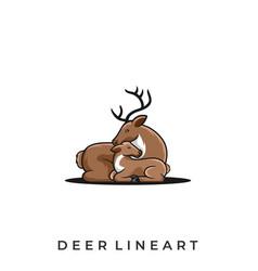 deer line art template vector image