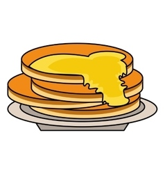 Delicious pancakes maple syrup outline vector