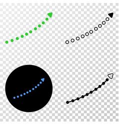 dotted up trend arrow eps icon with contour vector image