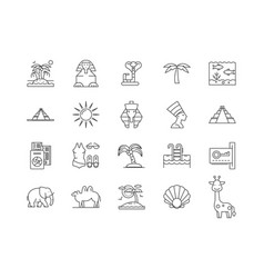 Egypt line icons signs set outline vector