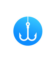 Fishing hook with line icon vector