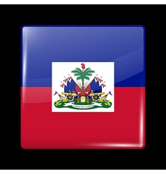 Flag of Haiti Glossy Icon Square Shape vector image