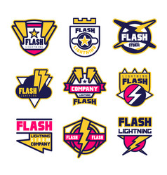 Flash lightning company logo design template vector