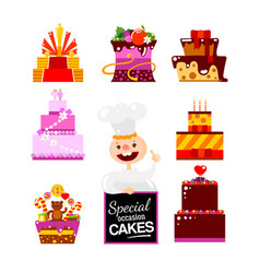 Flat cakes collection with confectioner vector