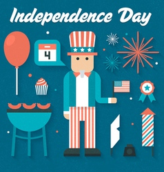 Flat Icons Set of Independence Day vector