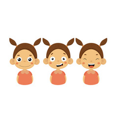 flat set of little girl with different vector image
