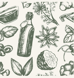 Flavoured products - hand drawn seamless pattern vector
