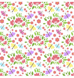 Floral pattern seamless background with vector