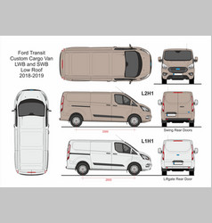 Ford transit custom cargo van l1h1 and l2h1 2018 vector