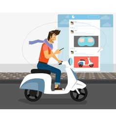 Funny handsome guy rides white bike vector