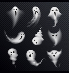 ghost realistic set transparent vector image