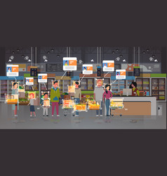 Grocery shop customers identification surveillance vector