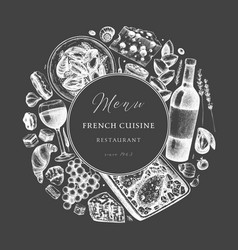 hand sketched french cuisine wreath on chalkboard vector image