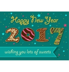 Happy New Year 2017 Chocolate donuts font vector image