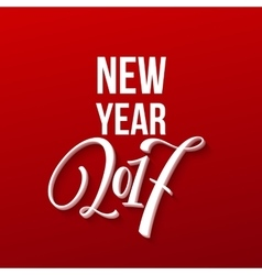 Happy New Year 2017 Christmas Card Text on Red vector image