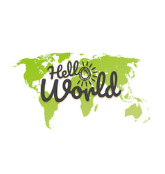 hello world world map with the logo vector image