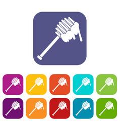 Honey spoon icons set vector