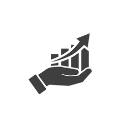 icon hand with profit chart on white background vector image