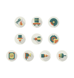 Industrial equipment round flat color icons vector