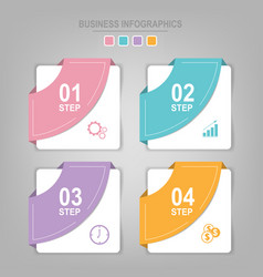 infographics template four steps on squares vector image