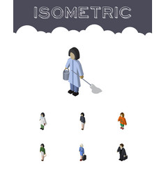 Isometric human set of hostess lady housemaid vector