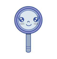 kawaii cute happy magnifying glass vector image