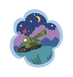 kid dreams sweet dream cloud with military tank vector image