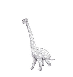 Low poly hand drawing brachiosaurus vector